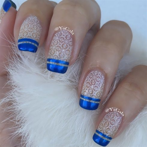 Winter French nails with Lesly plate LS-122 ~ by Yagala