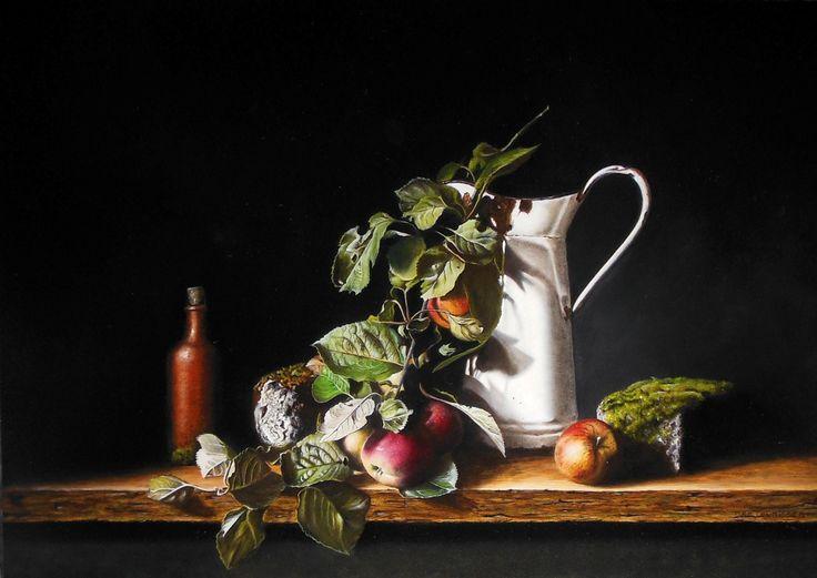 Stilleven met appels en witte kan Jan Teunissen