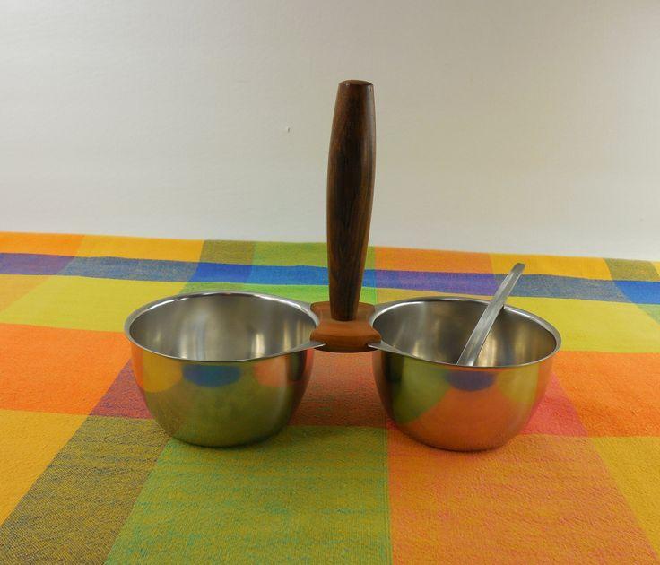 Kalmar Designs Denmark - Relish Jelly/Jam Condiment Dish Bowls & Ladle- Teak Wood Handle - Danish Modern