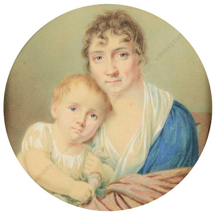 D.Chodowiecki, Portrait of Madame Marie von Almonde from Danzig wife of merchant Cornelius von Almonde, born as Marie McLean. She has two husbands Michael Barstow and next C. von Almonde. Very rare miniature for costume in Danzig, 1795 - 1798, Boris Wilnitsky Art