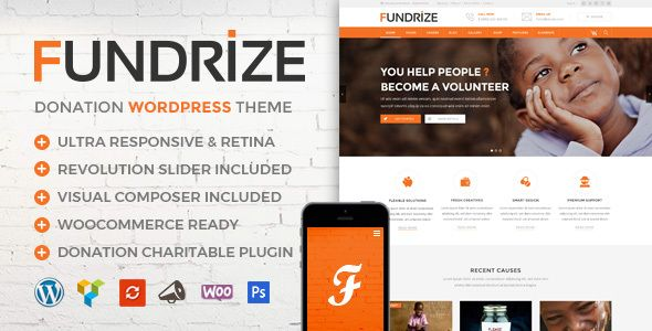 Fundrize | Responsive Donation & Charity WordPress Theme Template Download