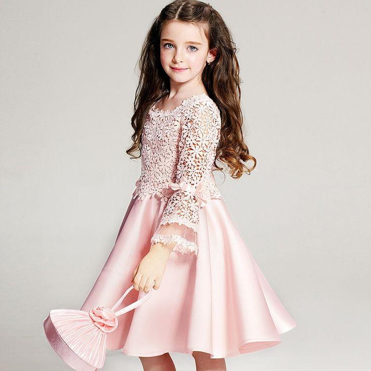 27.00$  Buy here - https://alitems.com/g/1e8d114494b01f4c715516525dc3e8/?i=5&ulp=https%3A%2F%2Fwww.aliexpress.com%2Fitem%2F2016-Girls-Dress-High-grade-Princess-Lace-Bow-Big-skirt-dress-Kids-Princess-Costume-Girls-Wedding%2F32615750101.html - 2016 Girls Dress High-grade Princess Lace Bow Big dress Kids Princess Costume Girls Wedding Dresses Party Bridesmaid Dress 27.00$