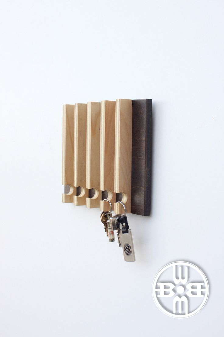 Modern Key Rack - Modern Entryway Wall Storage, Gift for Men, Natural Wood,