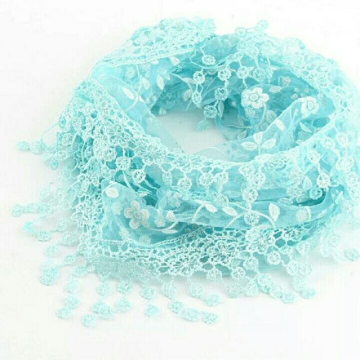 Hey, check out what I'm selling with Sello: Sheer floral print triangle scarf in aqua with lace trim. http://sesenne.sello.com/shares/k7jAb