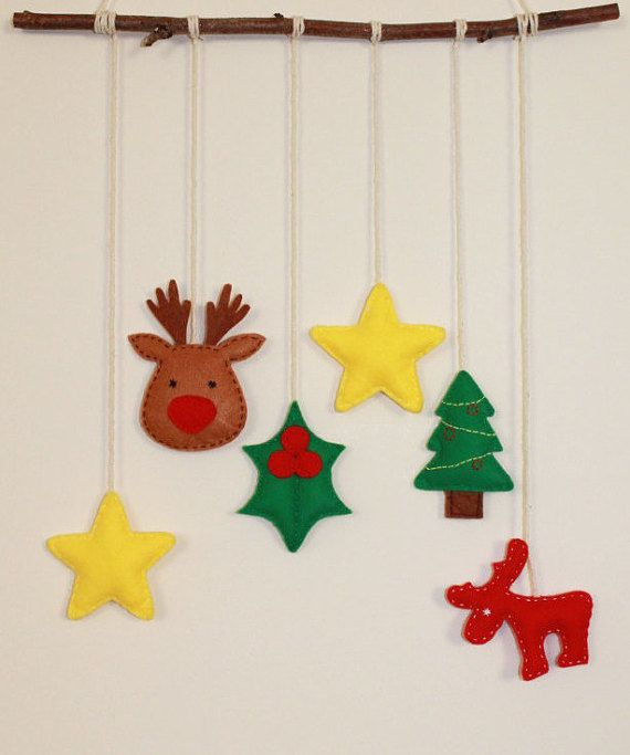 Cute Christmas stars reindeer holly wall hanging by TinyHappyBee