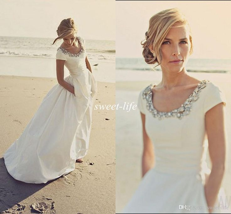 2015 Modern Wedding Dresses With Pockets And Short Sleeves Scoop Beading White Taffeta Cheap Spring Beach
