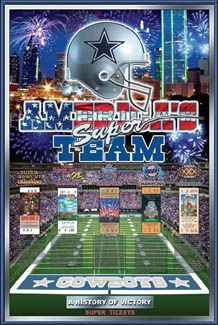 dallas cowboys history | Dallas Cowboys History of Victory 5-Time Super Bowl Champs Poster ...