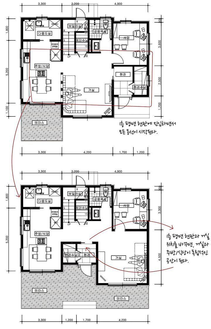 우리 집을 맛있게 만드는 주택 동선 계획 레시피 1boon 주택평면도 집 계획 작은 집