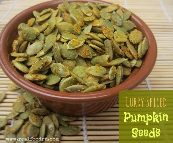 Curry Spiced Pumpkin Seeds. These are a great source of zinc and go very well on salads or sprinkled on your favorite soup!