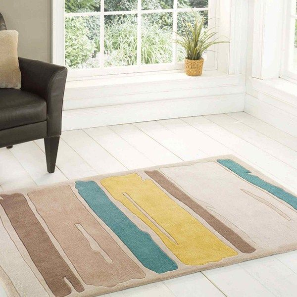 Infinite Modern Art Paint Strokes Rugs Are Handmade In China With A Luxurious Polyester Pile The Design Offers Quality