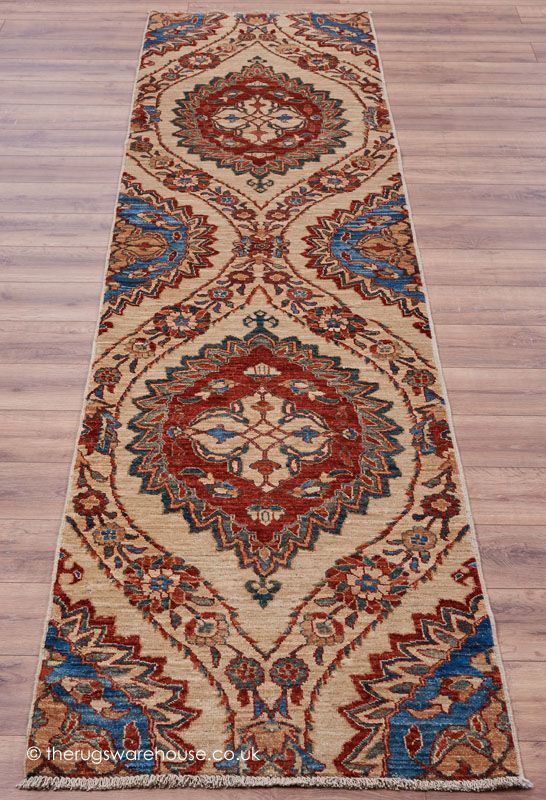 Aryana 2928 Runner (83 x 356cm 2ft9' x 11ft8), a long hallway runner rug with a traditional floral design (100% wool, hand-knotted in Afghanistan) http://www.therugswarehouse.co.uk/aryana-2928-runner.html #hallrunners #luxury