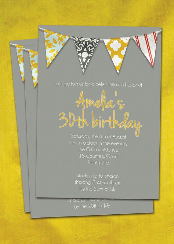 pennant banner birthday party invitation // milestone birthday // yellow & gray - via digibuddha Paperie