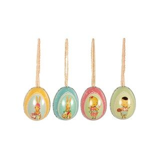 Maileg Metal Easter Eggs (Set of 4) These 4 small metal Easter eggs w. string, beautifully printed with bunnies and flowers inside out, will make any Easter basket stand out. Fill them with the best chocolate you can find and save them for years to come. $39.95 #easter #gift #bunny