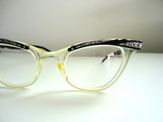 Vintage Cats Eye Glasses In Excellent Condition With by KimBuilt, $75.25