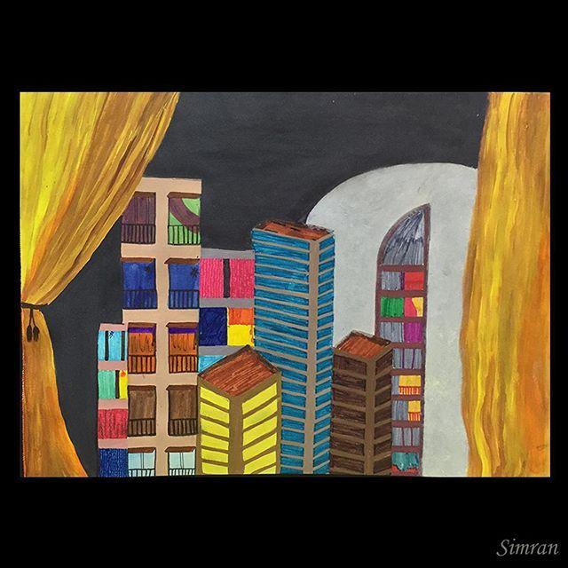#acylic #sketchpens #nightout #nightlife #landscape 2011 painting