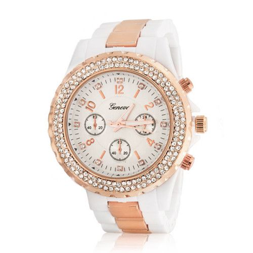 Bling Jewelry Geneva White Rose Gold Plated Stainless Steel Chronograph Watch
