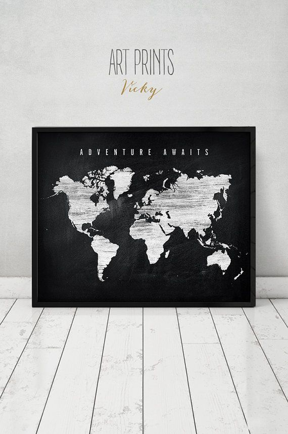 110 best watercolor maps images on pinterest maps posters world adventure awaits large world map print world map poster chalkboard art distressed travel map typography art home decor artprintsvicky gumiabroncs Images