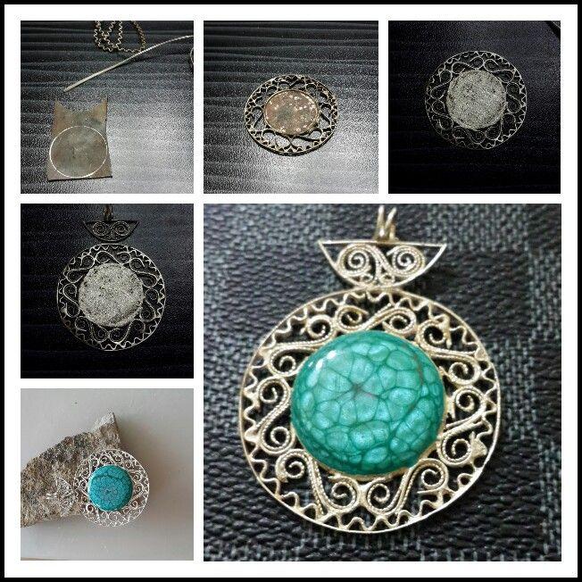 Gümüş telkari kolye. Pebeo prisma boya reçine. - by oya #handmade #oyaca #oyalanmaca