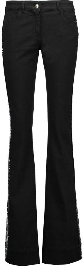 Just Cavalli Sequin-trimmed mid-rise bootcut jeans