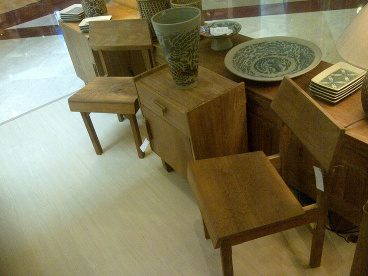 """Modern ethnic chairs with batik """"kawung"""" carving"""