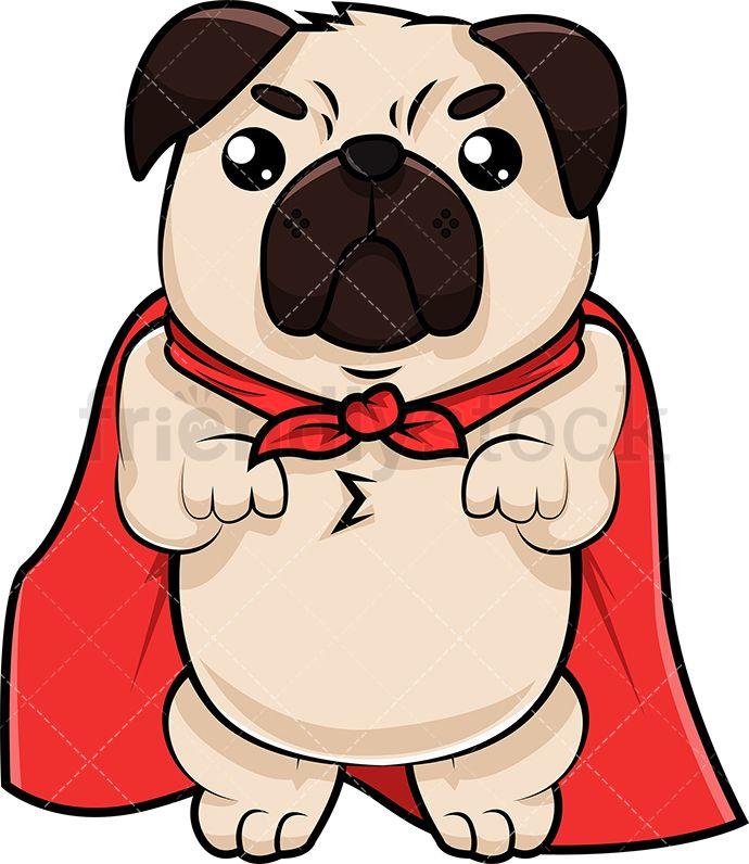 Superhero Pug Dog Cute Pugs Cartoon Dog Pugs