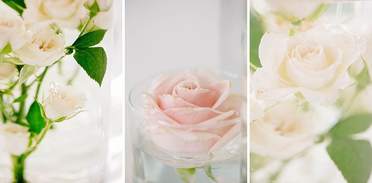 Wedding Centerpiece in green , peach and soft pink roses - floating flowers http://www.fantasiaromantica.com  Wedding Destination Photographer: Florence   Europe | Martina   Fabrizio Wedding in a Tuscan villa | http://www.tastino0.it