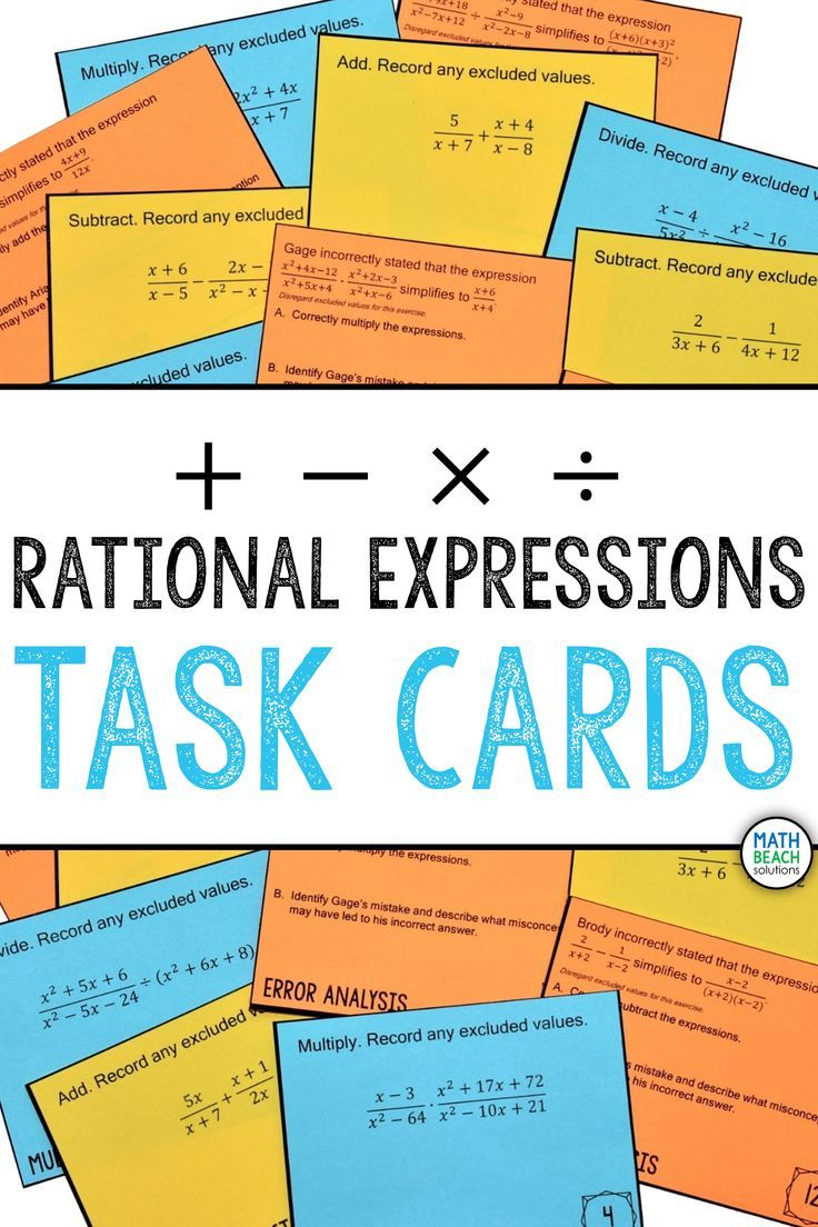 Simplifying Rational Expressions Task Cards Activity Simplifying Rational Expressions Rational Expressions Simplifying Algebraic Expressions Adding rational expressions with like