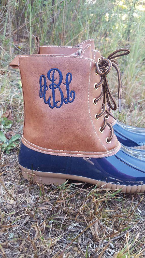 Duck boots Monogram Boots Monogram Duck Boots by OhSewSassyDesigns