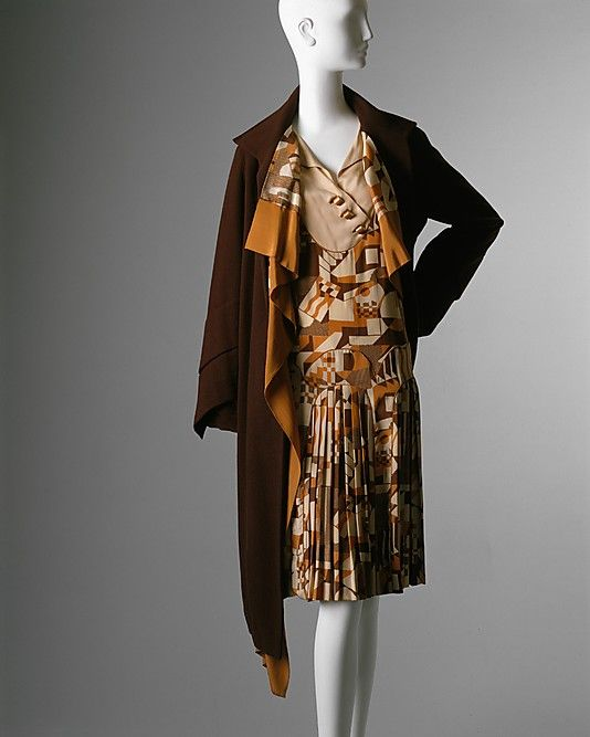 "Brown silk and wool ensemble (print silk dress and wool coat with silk lining) by Nemser, American, late 1920's. Label: ""Nemser/Original Model"""