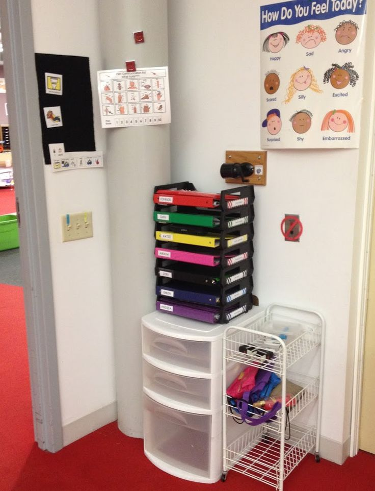 Classroom Layout: Students' binders and individual schedules are right next to to the door when they walk in so that the first thing they do in the morning is grab their binder and go to their desk. This is also where they leave their take home folders.
