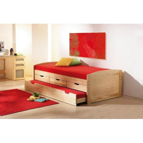 Letti : Letto singolo in pino massello con letto estraibile e 3 cassetti MARINELLA 90X190