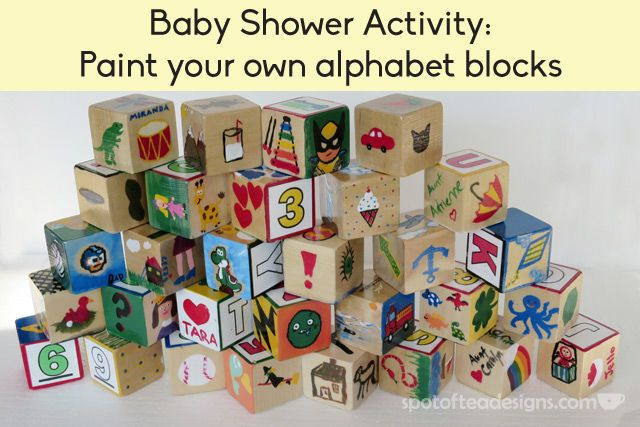 Baby Shower Activity Paint Your Own Alphabet Block Alphabet Blocks Baby Shower Baby Blocks Baby Shower Baby Shower Crafts