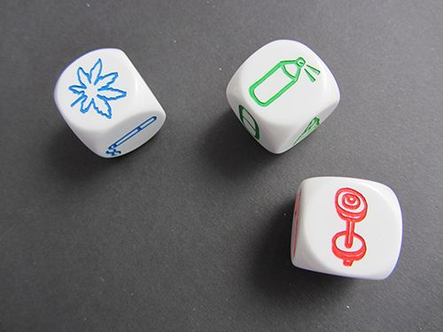 The DEN Storytelling Dice are a set of three dice (Blue, Red and Green) designed to facilitate discussions, experiences and opinions about drugs in an engaging way.