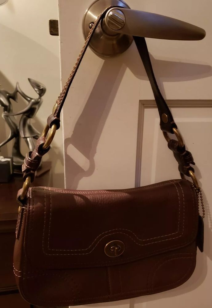 12852e7dbe COACH-10951-CHELSEA-Brown Pebbled Leather-SMALL-Shoulder Bag PURSE-EXCELLENT