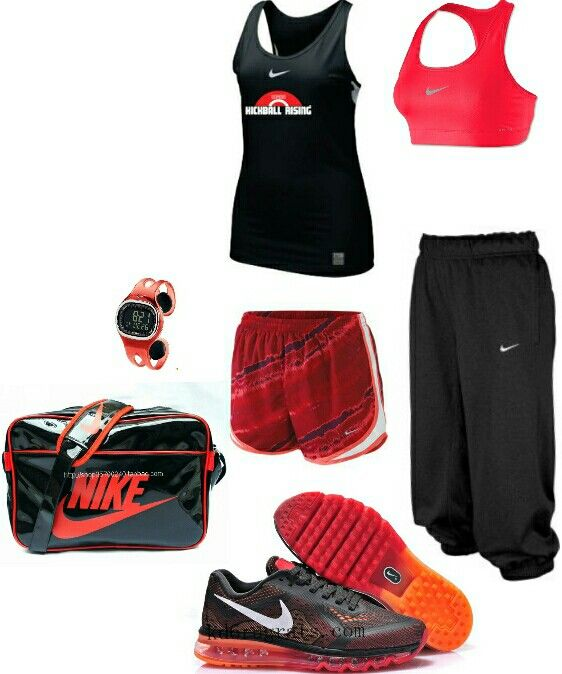 Women's fashion red black nike gym outfit