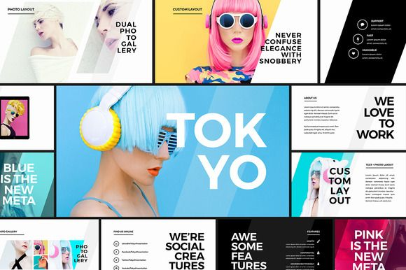 Tokyo - Creative Presentation by Tugcu Design Co. on @creativemarket. Price $12 #creativeagencypresentationtemplate #businesspowerpointtemplate #trendypowerpointtemplate