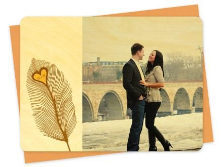 Heart Feather Photo Thank You Notes | Green Bride Guide