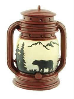 """Lantern shaped night light, bear silhouette,  6"""" tall and plugs into an outlet."""