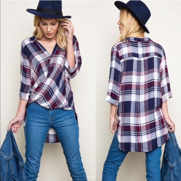 SUMMER LILY plaid scoop top - NAVY/PLUM Woven Swoop Flannel Fabric 100% RAYON Bellanblue Tops Blouses
