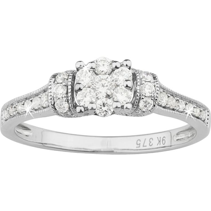 Fine Diamond Flower Engagement Ring