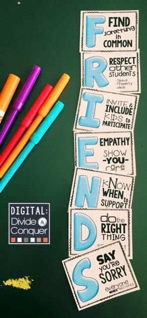 Learning how to be a FRIEND is critical for all kids (at all ages). This FREE resource is a great reminder to help students out. Grab the full-size poster set (each letter is a standard 8x11 page). Displays great in hallways or bulletin boards, perfect for social/emotional learning too. by jolene