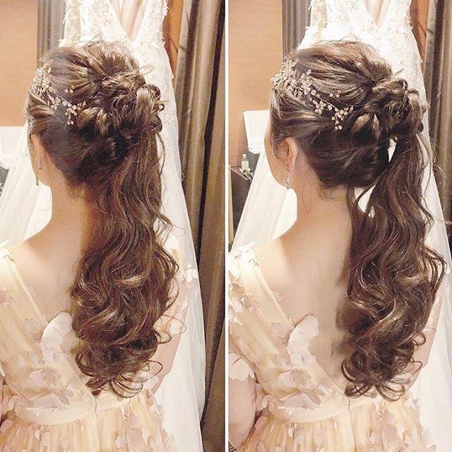 ⋆*❁ 大人可愛いポニーテール のブライダルヘア 💕 小枝
