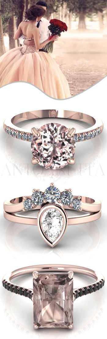Are you looking for #engagement and #proposal #ring ideas? Here are some more exclusive #finejewelry pieces for rose #gold #wedding #rings from ANTOANETTA. This round #morganite ring with genuine #diamonds is elegant, delicate and displays a solitary concept.