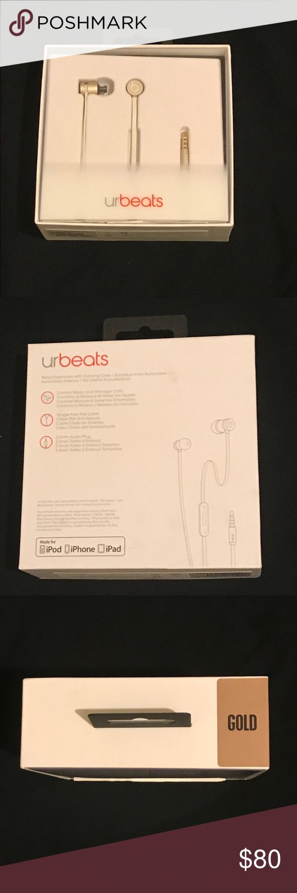 Beats By Dre Headphones (Unlimited) Gold/White Like New With Box, 3 replacement Ear Buds, Carrying Pouch Also Included Beat By Dre Other