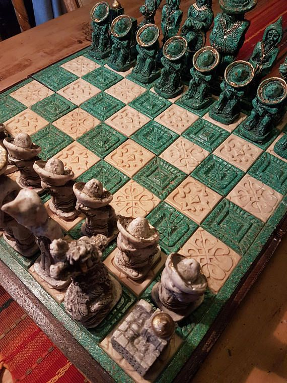 Vintage stone and wood large pieces chess set from Mexico