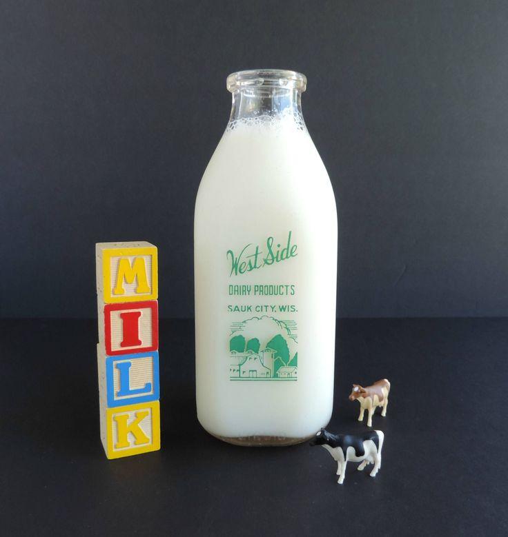 Vintage Milk Bottle, West Side Dairy Products Swistyle Brand, Sauk City Wisconsin, One Quart Glass, Farmhouse Kitchen, Cottage Decor by TheLogChateau on Etsy