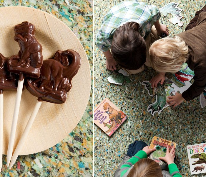 Cool handmade chocolate pops and giant dinosaur puzzle - party activity