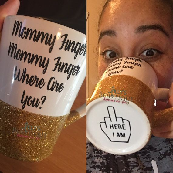 Mommy Finger Glitter Mug/Mommy Finger song/ by LillysBowtique