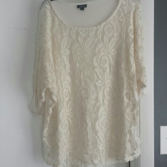 A.N.A Plus size Cream Lace Top Cream Lace front (wear cami underneath) Back is covered and stretchy Ana Tops