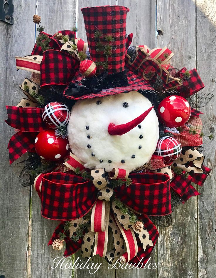 A personal favorite from my Etsy shop https://www.etsy.com/listing/559379738/buffalo-plaid-snowman-wreath-snowman